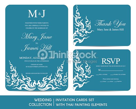 Wedding invitation cards set with thai painting elements vector art wedding invitation cards set with thai painting elements vector art stopboris Gallery