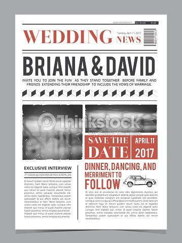 wedding invitation on newspaper front page design vector layout