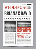 Wedding invitation on newspaper front page. Design vector layout template. Wedding celebration in newspaper title illustration