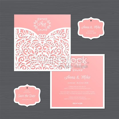 wedding invitation or greeting card with vintage ornament paper lace