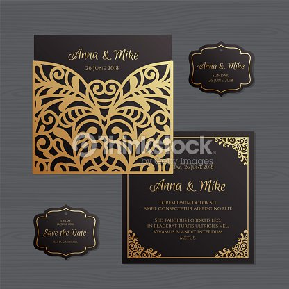Wedding invitation or greeting card with vintage ornament paper lace wedding invitation or greeting card with vintage ornament paper lace envelope template wedding invitation envelope mock up for laser cutting vector stopboris Image collections
