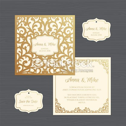 Wedding invitation or greeting card with vintage ornament paper lace wedding invitation or greeting card with vintage ornament paper lace envelope template wedding invitation envelope mock up for laser cutting vector stopboris Images