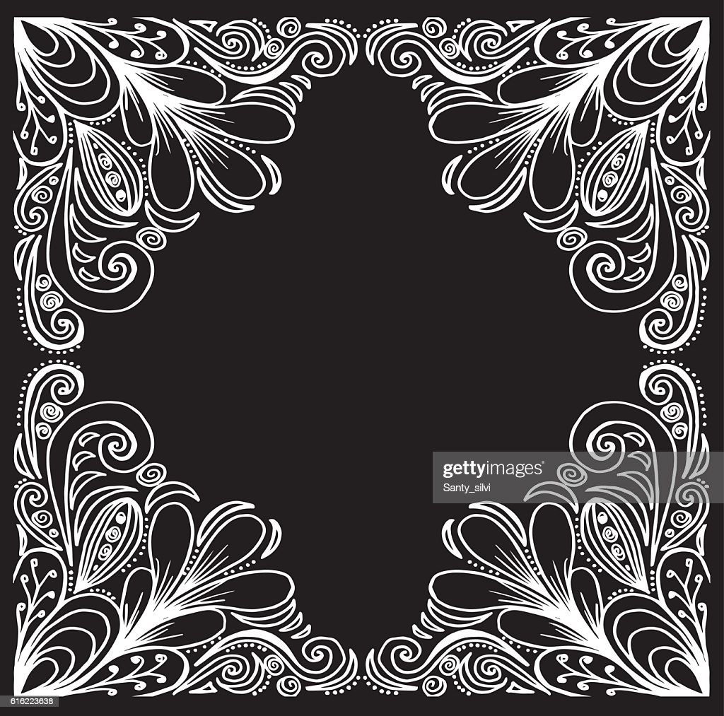 Wedding invitation. Ornamental frame. Ethnic motives. Lovely tablecloth : Vector Art