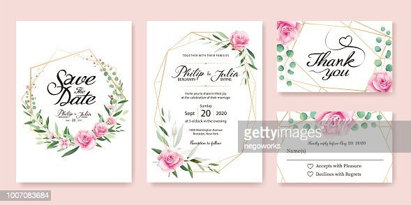 Wedding Invitation, save the date, thank you, rsvp card Design template. Vector. Summer flower, pink rose, silver dollar, olive leaves, Wax flower. : stock vector