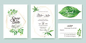 Wedding Invitation, save the date, thank you, rsvp card Design template. Silver dollar, olive leaves. leaf. Vector.