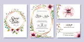Wedding Invitation, save the date, thank you, rsvp card Design template. Vector. Anemone flower, silver dollar, leaves, Wax flower. Watercolor styles.
