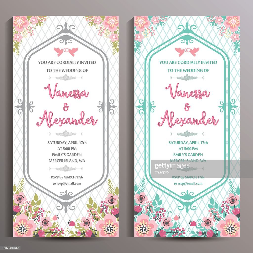 wedding invitation two floral vertical cards size is 10x21 cm vector art - Wedding Invitation Sizes
