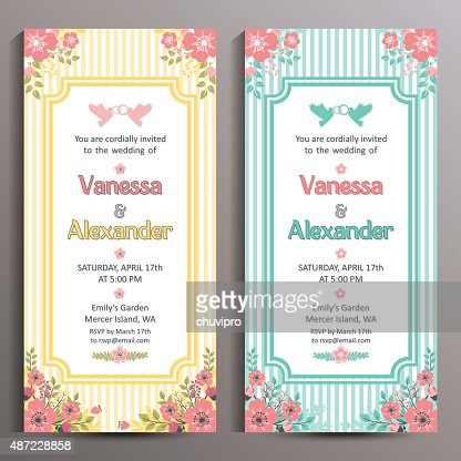 Wedding Invitation Two Floral Vertical Cards Size Is 10x21 Cm – Size of Invitation Card