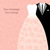 Wedding invitation with a tuxedo and dress on an abstract background. Bride and groom. Vector illustration