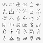 Wedding Line Icons Set. Vector Collection of Modern Thin Outline Save the Date Symbols.