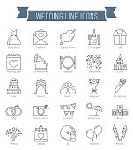 25 Wedding line icons, can be used for Valentine's day, vector eps10 illustration