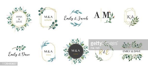 Wedding logos, hand drawn elegant, delicate monogram collection : stock vector