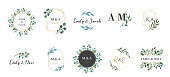 Wedding logos, hand drawn elegant, delicate monogram collection