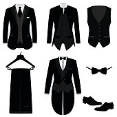 Wedding men's suit with shoes, tuxedo. Mens jacket. Waistcoat. Collection. Vector illustration