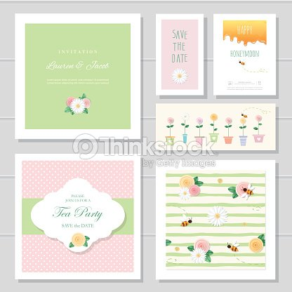 Wedding Or Birthday Card Templates Set Decorated With Roses And
