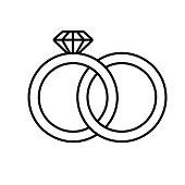 Wedding rings linear icon. Interlocked wedding ring with diamond. Thin line. Vector
