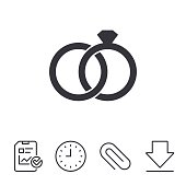 Wedding rings sign icon. Engagement symbol. Report, Time and Download line signs. Paper Clip linear icon. Vector