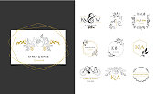 Wedding symbols, hand drawn elegant, delicate monogram collection