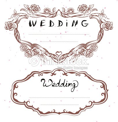 Wedding Title Floral Frame Wedding Invitation Lettering Text Greeting Card Vector Art