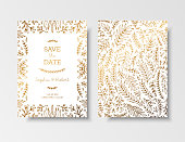 Wedding vintage invitation,save the date card with golden twigs and flowers. Cover design with gold botanical ornaments. Gold cards templates for save the date, invites, greeting card, place for text