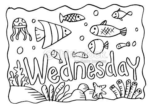 Página Para Colorear De Miércoles Con Peces Arte vectorial | Thinkstock