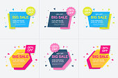 Weekend sale banner, special offer, set sale discount, vector eps10 illustration