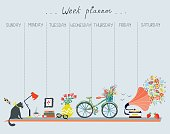 Weekly planner with cute design - home objects, cat, bicycle, flowers, music. Vector graphic illustration