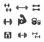 Set of weight kilogram barbell icons. Vector isolated bodybuilding, fitnes s icons set