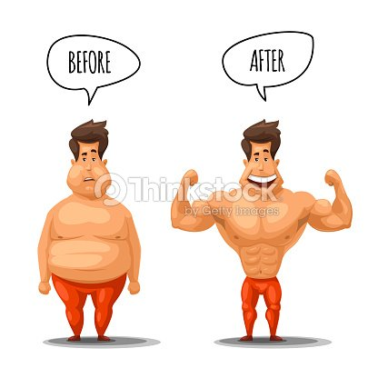 weight loss man before and after diet vector illustration ベクトル