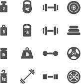 Weight vector icons. Weight dumbbell, heavy weight barbell, element weight illustration