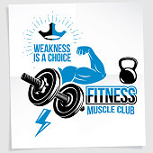 Weightlifting club promotion flyer. Vector composition created using athletic sportsman biceps arm with disc weight dumbbell and kettle bell sport equipment. Weakness is a choice lettering.