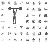 Weightlifting icon. Sport illustration vector set icons. Set of 48 sport icons