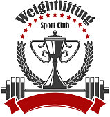 Weightlifting sign. Vector badge for weightlifter sport club gym. Icons of weight dumbbell, iron barbell, ribbon, stars, champion cup and winner laurel wreath