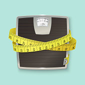 Weights and tape measure. Floor scales. Vector illustration