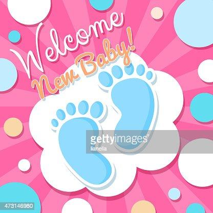 Welcome baby card vector art