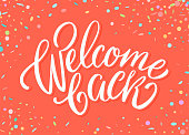 Welcome back banner. Vector hand drawn illustration.