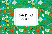 Welcome back to school banner with color icon on blackboard. Design template for banner, poster. Vector illustration