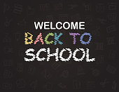 Welcome Back to School poster with doodles, good for textile fabric design, wrapping paper and website wallpapers. Vector illustration.