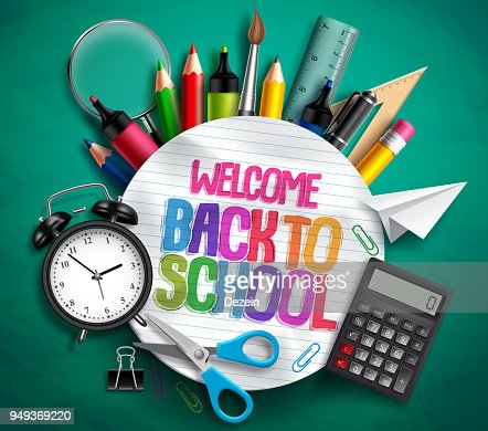 Welcome back to school vector banner with school supplies, education elements and colorful text : arte vetorial