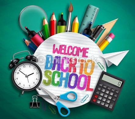 Bienvenue à bannière vecteur école avec fournitures scolaires, des éléments de l'éducation et le texte coloré : clipart vectoriel