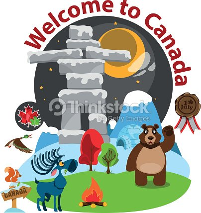 Welcome Banner With Symbols Of Canada Vector Art Thinkstock