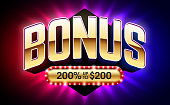Welcome Bonus, gambling games casino banner vector illustration