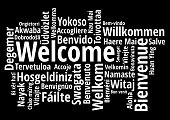 Welcome in different languages wordcloud on white background vector illustration