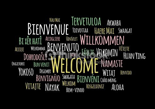 Welcome In Different Languages Wordcloud Vector On Black Background ... f9e9b8b58b6