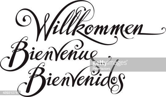 welcome in german french spanish vector art getty images