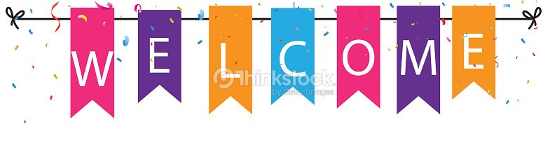 Welcome Sign With Colorful Bunting Flags And Confetti Vector Art