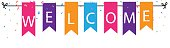 Vector Illustration of Welcome sign with colorful bunting flags and confetti