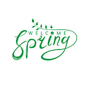 Welcome spring handwriting design. Vector green template isolated on white background.