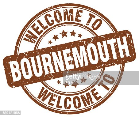 welcome to Bournemouth brown round vintage stamp : Vector Art