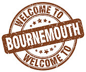 welcome to Bournemouth brown round vintage stamp